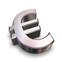 A chrome-plated Euro symbol isolated on a white background (3D rendering)